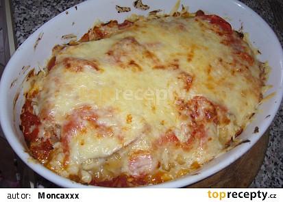 Rajčatovo-houbové lasagne se šunkou a sýrem