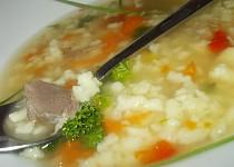 Domácí polévka z krůtích krků a žaludků s drobenkou