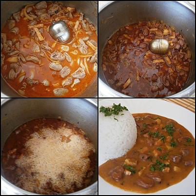 """Kuřecí """"gazdovská"""" srdíčka (a polévka z vývaru), Podlijeme pivem a pod tlakem vaříme 25minut.Po uvaření vytáhneme vajíčko s kořením,přidáme záklechtku a 10minut povaříme.Na talíři posypeme petrželkou a podávám"""