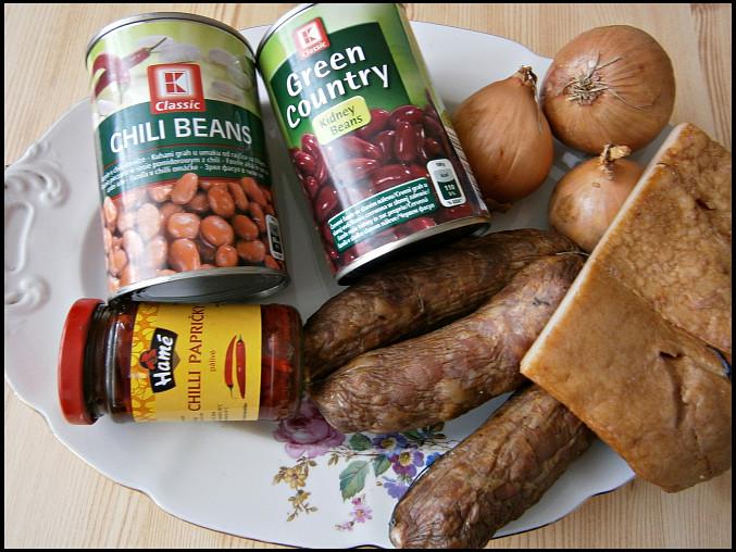 Ajveniny mexické fazole, část použitých surovin