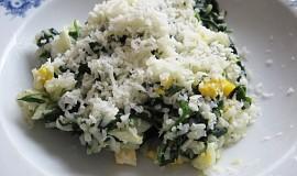 Špenát s rýží a vejcem