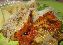 Šťavnatá pečeně ze selete na majoránce a   cibuli
