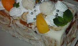 Bombastický  dortík z  roládek,   ovoce a tvarohu