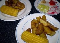 Kukuřičný klas s pečenými brambory – vegan
