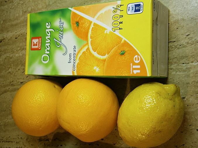 Pomerančová šťáva a citrusové plody