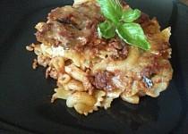 Zapečené boloňské těstoviny s dvěma sýry