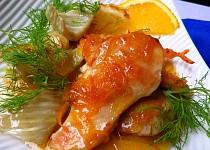 Kuřecí prsa s pečeným fenyklem a pomerančovou omáčkou
