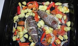 Pstruh na zelenině, v troubě