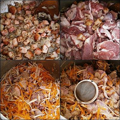 Zasypeme paprikou,přidáme maso,orestujeme a zasypeme zeleninou.Dáme koření,vodu a dusíme