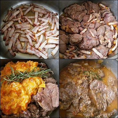 Osmažíme slaninu,na ni dáme prudce zatáhnout plátky masa.Přidáme ostatní suroviny a dusíme doměkka