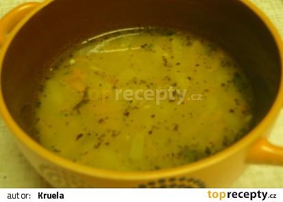Polévka s červenou čočkou a vločkami