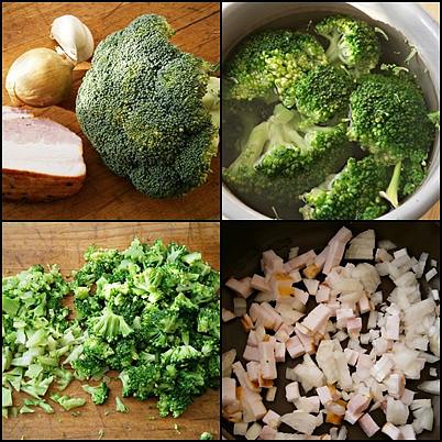 Brokolice jako příloha k různě upravenému masu, Suroviny upravíme,cibuli a špek nakrájíme a orestujeme