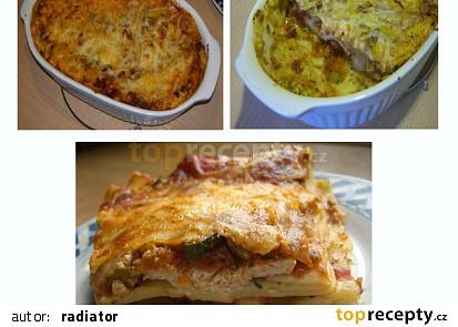 Lasagne s krůtím (kuřecím) masem a dvěma omáčkami