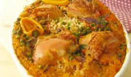 Pilaf s kuřecím masem  uvařeným v polévce