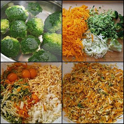Zeleninové kuličky jako pečenáče i hlavní chod, Růžičky brokolice,spaříme,ochladíme a necháme okapat.Pak všechnu zeleninu nastrouháme,nasekáme,přidáme vejce,sýry,koření a vypracujeme těsto