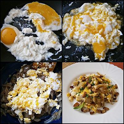 Cibule s míchanými vejci, Na pánvi usmažíme vejce,zlehka je vmícháme do prohřáté cibule a na talíři posypeme osmaženým špekem a cibulovou natí