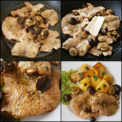 Krůtí plátky s hříbky, Na oleji osmažíme po obou stranách.Přidáme hříbky,vývar a máslo a necháme prudce odpařit tekutinu.Podáváme s opečeným bramborem