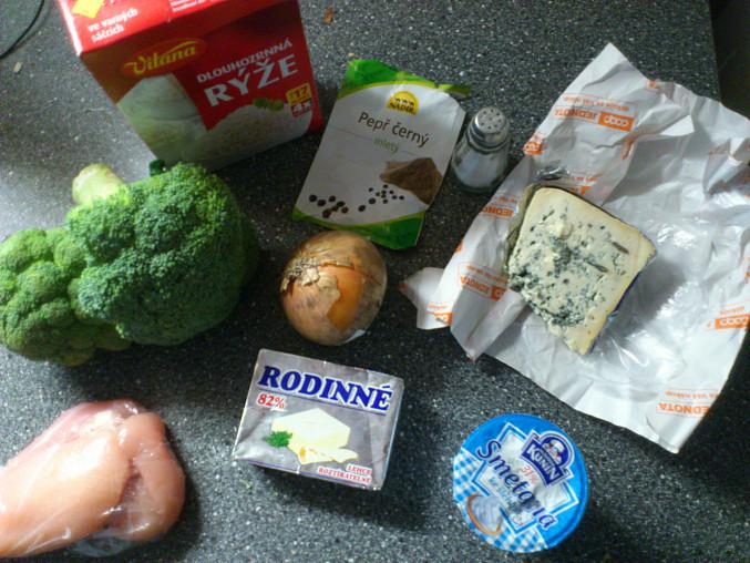 Kuřecí nudličky s omáčkou z brokolice, nivy a smetany, Suroviny.