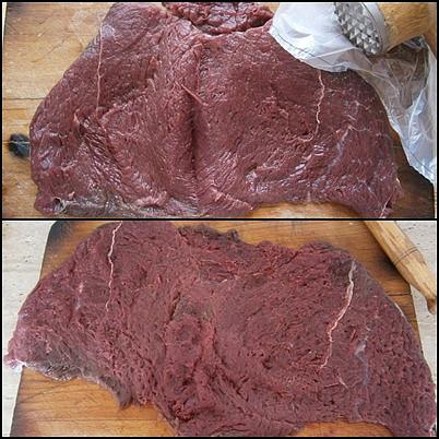 Masová roláda z koníka s bůčkovým závinem, Maso přes folii rozklepeme na plát,osolíme a opepříme