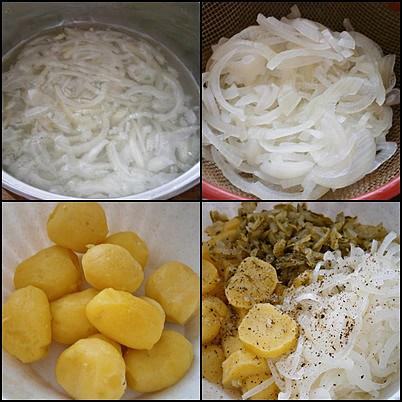 Ryby v semínkovém trojobalu s cibulovo bramborovým salátem, Nakrájené cibule dáme na 2minuty do vařící vody,poté necháme v cedníku okapat.Ostatní suroviny nakrájíme do mísy přidáme cibuli,koření a nálev