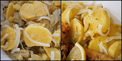 Ryby v semínkovém trojobalu s cibulovo bramborovým salátem, Vše promícháme a necháme uležet