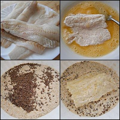 Ryby v semínkovém trojobalu s cibulovo bramborovým salátem, Filety osušíme,překrojíme a mírně osolené obalíme v trojobalu