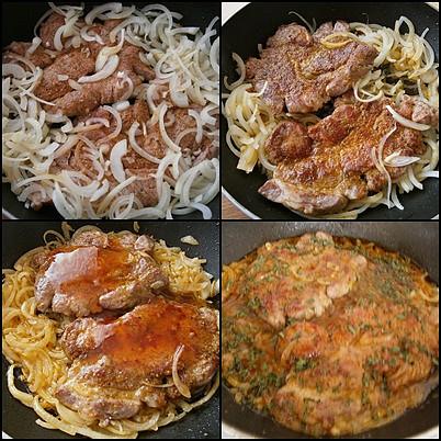 Vepřová krkovice s brokolicí, dušená na cibuli, Okořeněné maso dáme na orestovanou cibuli osmažit po obou stranách.Zakápneme chilli,podlijeme vývarem a pod pokličkou dusíme doměkka