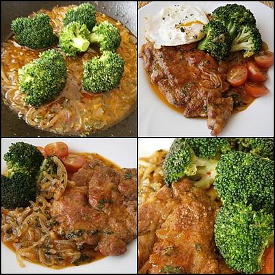 Vepřová krkovice s brokolicí, dušená na cibuli, Do šťávy dáme brokolici a dusíme na skus.Šťávu dochutíme,dáme prohřát maso a podáváme