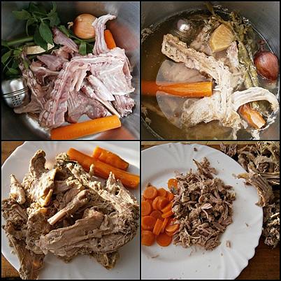 Kosti po vykostění králíka dáme společně s kořením a zeleninou uvařit,poté scedíme,zeleninu a obrané maso nakrájíme