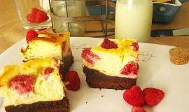 Brownies kombinovaný s malinovo-syrovym koláčom