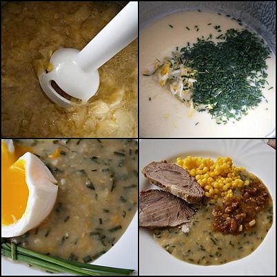 Cuketová omáčka z dužiny,bez zahuštění, Rozmixujeme ponorným mixérem.Naředíme na požadovanou hustotu,přidáme bylinky a česnek a 5minut provaříme.Podáváme s vejcem,nebo s masem.
