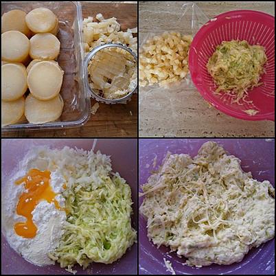 Cuketovo-tvarůžkové lívanečky, Tvarůžky protlačíme mřížkou na brambory.Z cukety ještě vymačkáme přebytečnou šťávu a promícháme ji s uvedenými surovinami