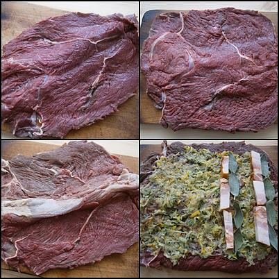 Hovězí roláda s cuketou a šalvějí, Plát masa naklepeme,okořeníme,potřeme hořčicí a poklademe špekem a lístky šalvěje