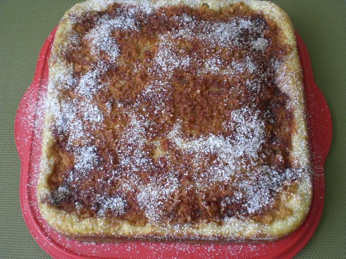 Krabičkový koláč, upečený koláč