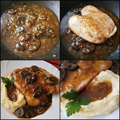 Kuřecí prso s hříbkem, Přidáme solamyl s vodou provaříme,vložíme prohřát maso a podáváme.