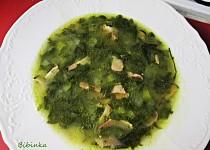 Polévka z listového špenátu s anglickou slaninou