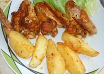 Kuřecí křídla v pečicím sáčku  s bramborami