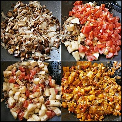 Na osmaženém špeku orestujeme cibule,přidáme hříbky,lilek,rajčata,okořeníme a podusíme.Do hotového vmícháme bulgur,bylinky a prohřejeme