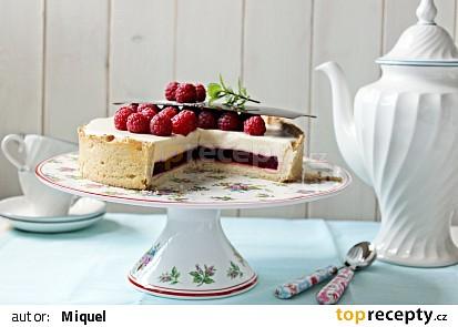 Malinový koláč s bílou čokoládou