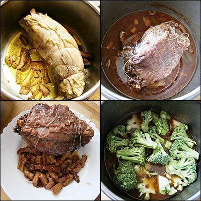Hovězí kližka s brokolicovo-česnekovou omáčkou, připraveno v papiňáku, Slaninu v papiňáku na oleji osmažíme,vložíme maso,necháme zatáhnout a podlité dusíme doměkka.Do šťávy dáme uvařit brokolici