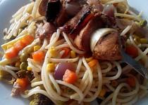 Pikantní kuřecí špíz se špagetami