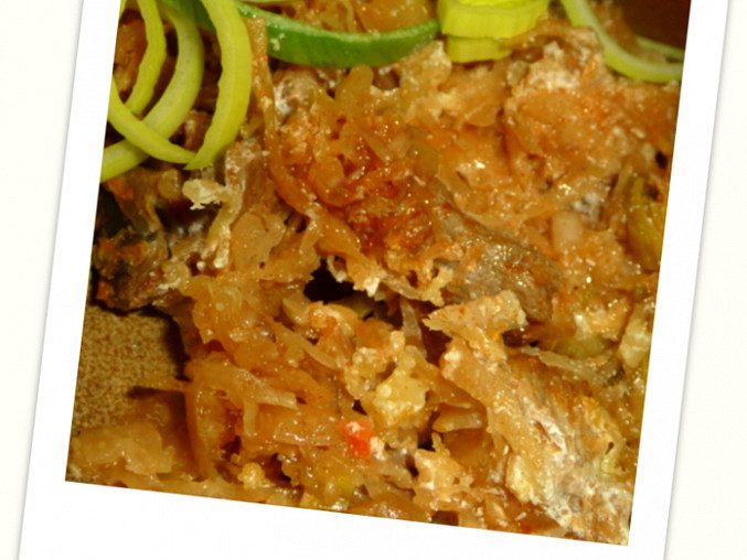 Vepřové maso zapečené s kysaným zelím