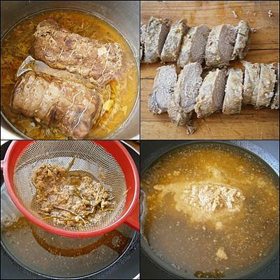 Kančí marinovaná kotleta s máslovou šťávou, Dusíme doměkka.Maso naporcujeme a šťávu propasírujeme