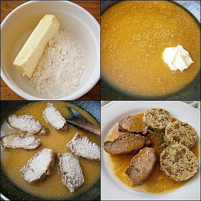 Kančí marinovaná kotleta s máslovou šťávou, Povolené máslo promícháme se lžící mouky,přidáme do šťávy a necháme provařit.Přidáme porce masa a prohřejeme