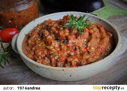 Pečená lilková směs s paprikami a rajčaty ( i do zásoby)
