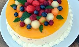 Pestrobarevný melounový dort