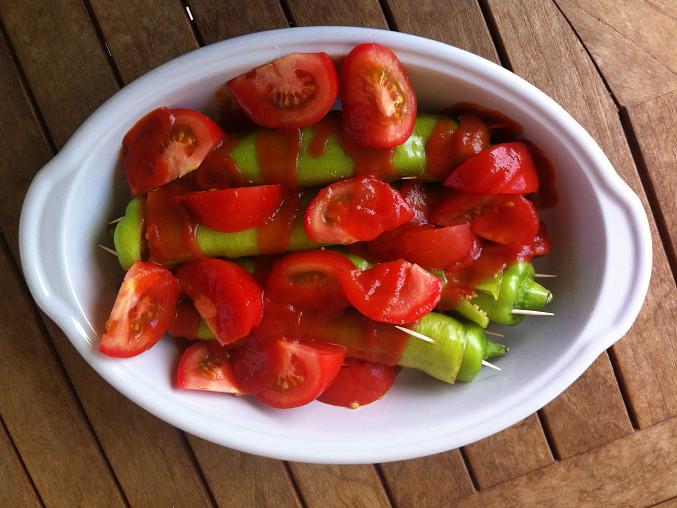 Plněné papriky směsí z kuskusu