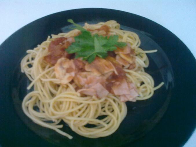 Špagety  se žampiony, tuňákem a šunkou, Špagety se žampiony, tuňákem a šunkou