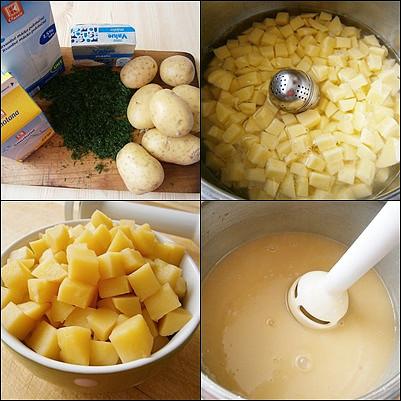 Koprová polévka bez mouky, Brambory uvaříme doměkka,polovinu dáme stranou a zbytek rozmixujeme