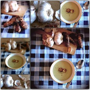 Krémová česnečka s topinambury